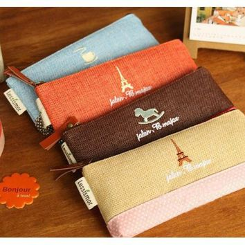 Free shipping Cute Fabric Linen Paris Pencil Case Kawaii Cartoon Pink Trojan Pen Bag for Kids Gift School Supplies 002