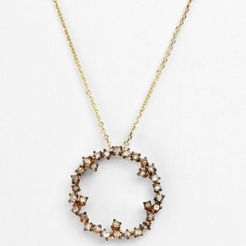 Women's KALAN by Suzanne Kalan 'Mini Starburst' Pendant Necklace - Yellow Gold/ Champagne Diamond