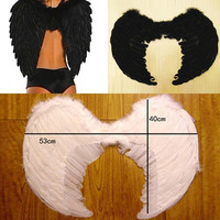 Fashion Women Black White Baby Fairy Feather Angel Wings For Party & Stage Perform = 1946888644