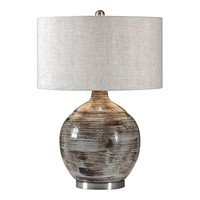 Tamula Ivory & Rust Bronze Ceramic Table Lamp by Uttermost