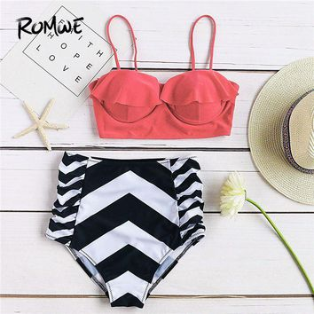 Romwe Sport Chevron Print Ruffle Design High Waist Two Pieces Women Push Up Chevron Swimwear Summer Beach Sexy Bikini Set
