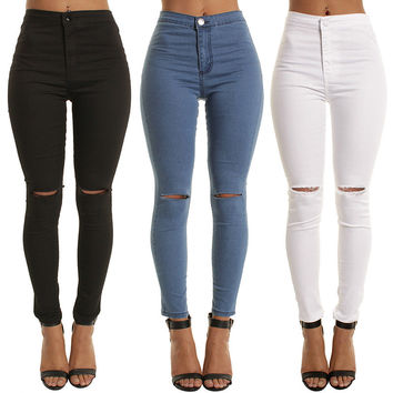 Stretch Slim Ripped Holes Denim Jeans [10399254093]