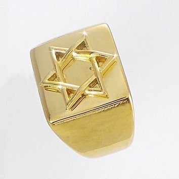 Men's Ring with a Flat Plate Cut Out Star Of David