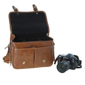 Waterproof PU Leather Camera Bag for SLR and DSLRs