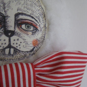 Doll fabric Soft Sculpture White Rabbit by quinnknits on Etsy