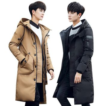 2016 winter men's fox collars Hooded leisure fashion 80% White duck down Down jacket Men's trench coat jackets Down Coats
