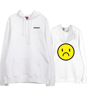 Kpop highlight can you feel it concert unhappy face printing fleece pullover hoodies  beast loose sweatshirt