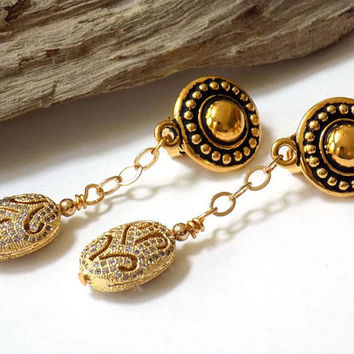 Clip on Earrings Gold Earrings Gift for Her Statement Earrings Gift for Women Beaded Earrings Handmade Jewelry Earrings for Women