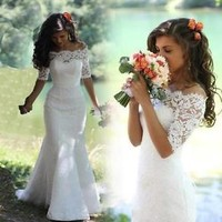 Half Sleeves Lace Mermaid Bridal Wedding Dresses Custom Size 2 4 6 8 10 12 14