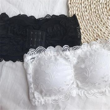 2017 Japanese Women sexy underwear All cup padded lace short sexy gather wrapped invisible bra underwear Bras for Women Top