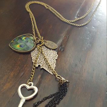 Vintage necklace Antique bronze long Peacock/Feather/Leaves/key/tassel statement necklace
