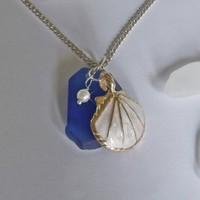 Blue Sea Glass Necklace with White Enamel Shell