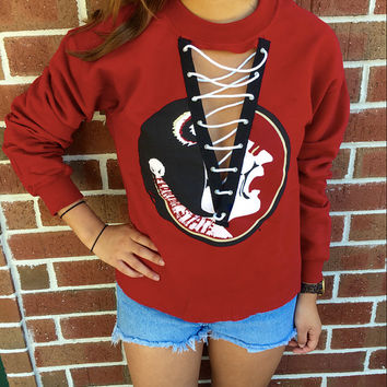 Lace Up College Sweatshirt