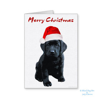 Black Lab Christmas Card - Labrador Holiday Card - Dog Christmas Card - Christmas In July - Black Lab Holiday card - Black Dog Christmas