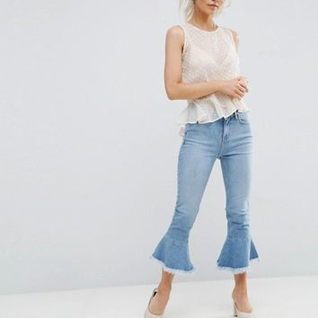 New Look Petite Peplum Kick Flare Jeans at asos.com