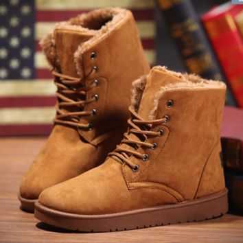 2016 New Warm Winter Boots For Women Ankle Boots Waterproof Snow Girls Boots Female Shoes Suede with Plush Insole Botas Mujer Brown