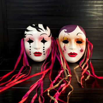 Ceramic Wall Masks (2) different faces