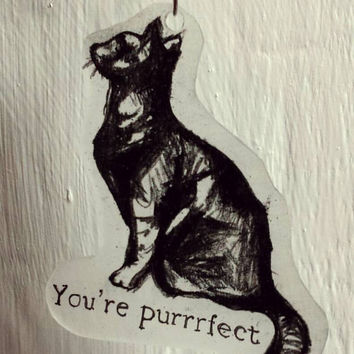 "Upcycled Valentines Cat Necklace Pendant: ""Your Purrrfect"" Handmade Valentine Gifts, Recycle, Cat Lover, February, love, gifts for her"