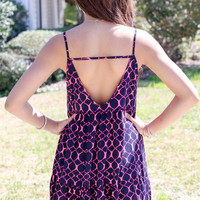 Spiral Out of Control Dress - Navy and Pink