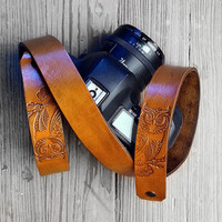 Owl Leather Camera Strap DSLR / SLR - Camera Strap - Easy Attachment and Easy Removal - Photographer gift - Genuine Leather