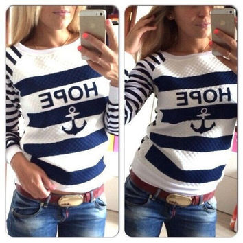 Women's Hoodies Sweatshirts Hot Anchors Striped Tracksuit Causal Ladies Blue White Patchwork Pullover Tops