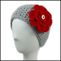 Light Gray Earwarmer with Red Flower