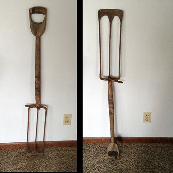 Vintage Unusual Farm or Garden Tool - Potato Spade or Fork - Old, Rustic, Weathered, Lots of Character.