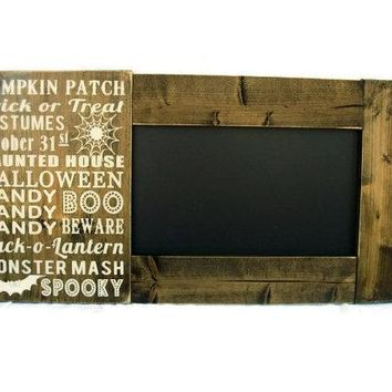Framed Halloween Chalkboard Large Rustic Wood Gift Wall Decor - Halloween Subway Art (#1199-CB)