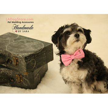 Pink Dog Bow tie attached to collar, Pet wedding, Charm, key, Pink lovers