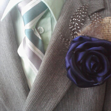 Ribbon Rose Boutineer Groomsmen Lapel Flower Wedding Party Boutonniere Corsage available in Any Color
