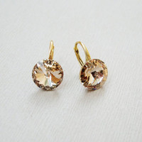 Gold plated sterling silver Swarovski crystal round rivoli Silk nude light peach colour dangle leverback earrings