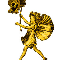 Gold Fairy Image, Gold Fairy Cutout,Vintage Storybook Graphics [[Flower Child]]Transfer Template.Fairy Template,Transparent Background
