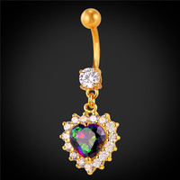 Body Jewelry Zirconia Crystal Heart Belly Button Rings For Women Platinum/18K Gold Plated Navel Piercing Nombril 2016 New DB2087