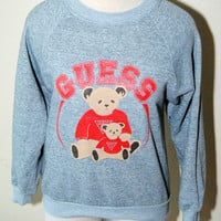 Vintage Guess Teddy Bear Sweatshirt Gray and Red Medium