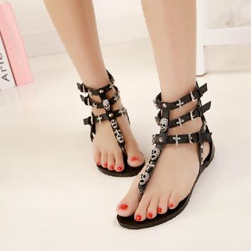 Rhinestone Cross and Skull Gladiator Sandals 2 Colors