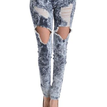 Destroyed Acid Wash Skinny Jeans RJH345 - D10F