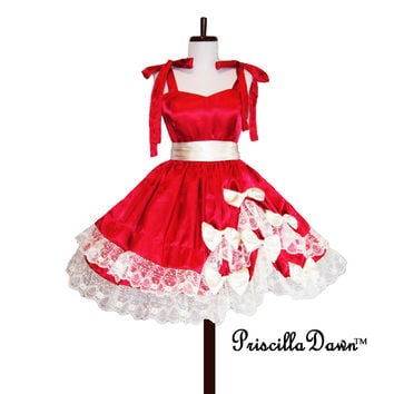 Custom Valentine Heart dress in Your size Sweet Dress Any Color or color of Bow Swing skirt wedding Prom Special occasion