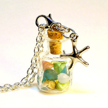 Mini Glass Bottle Necklace Beach Terrarium Pendant Starfish Charm Miniature Seahells