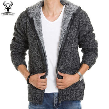 5Colors 2016 New Autunm Winter Fur Lining Thicken Hoodies Men Casual Zipper Warm Knitted Jacket mens winter Jumper
