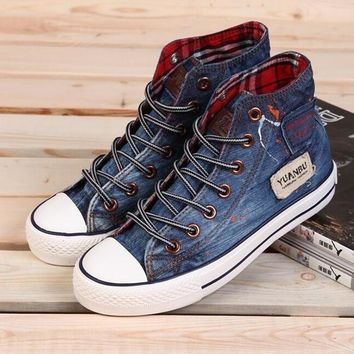 Hot Sale High Quality Classic Canvas Shoes Washed Denim Womens High Shoes Flat Casual
