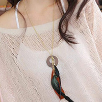 Black Beaded Feather Key And Ring Necklace