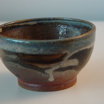 Cereal Bowl, Dark Copper & Blue colors, Kitchen Serving dish or Ring Holder, Wheel Thrown stoneware pottery ceramic