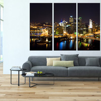 pittsburgh Canvas Print wall art, extra large wall art, citycape art, pittsburgh skyline wall art, pittsburgh contemporary wall decor t107