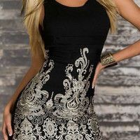 Black Floral Print Bodycon Sleeveless Dress
