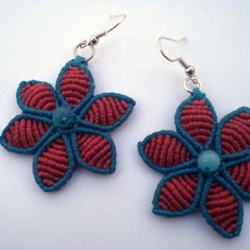 Earrings flowers by macrame