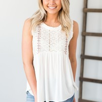 Lace Embroidery Detail Top