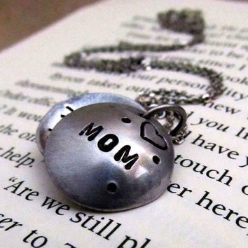 Hand Stamped Locket Mom Necklace Hand by FiredUpLadiesHammer