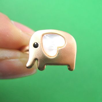 Elephant Adjustable Animal Ring in Light Copper with Heart Shaped Ears