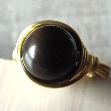 Rainbow Obsidian Ring, Black Stone Ring, Black Obsidian Ring, Wire Wrapped Ring, Rainbow Ring, Ring with Stone, Obsidian Jewelry, Gothic
