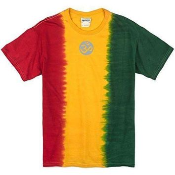 Yoga Clothing for You Mens Om (small print) Rasta Tie Dye Tee Shirt
